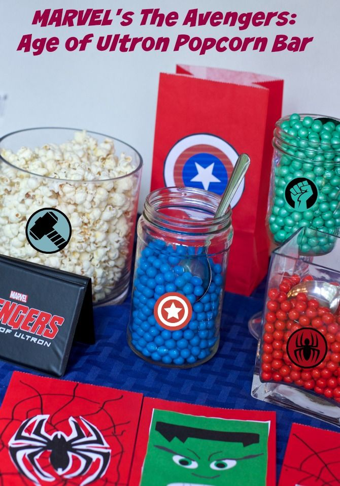 A fun Avengers Popcorn bar party idea.  A fun way to throw a movie viewing party #AvengersUnite #ad