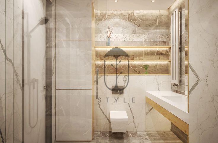 Мебель в ванной комнате, чтобы не делила пространство, выполнена единым шкафом от пола до потолка.