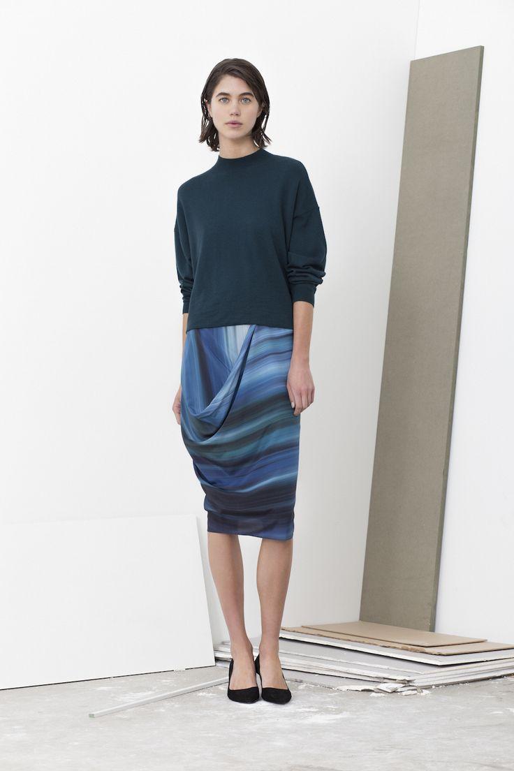 Lex merino wool fold hem back jumper worn with Katlin all one drape skirt