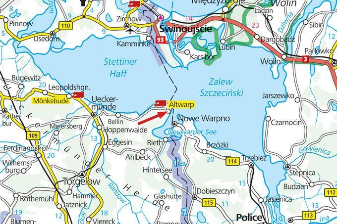 MeckPom, Altwarp(Stettin), 9,50€/d, Strom 2€, du+wc, SEEBLICK! Frischer Fisch und Kutterfahrt nach Polen, supertalentiert Umgebung