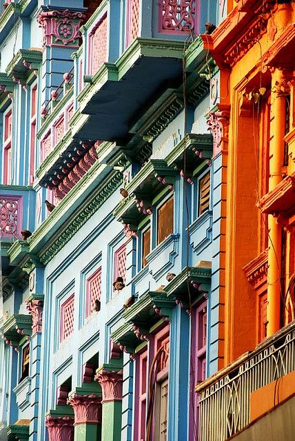 Colorful facades on Gawalmandi historic centre in Lahore, Pakistan