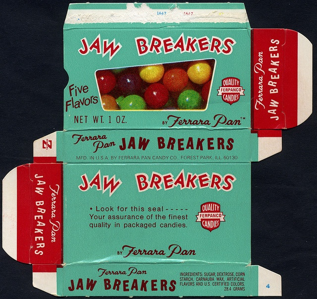 Ferrara Pan - Jaw Breakers -look for this seal- candy box - 1970's by JasonLiebig, via Flickr