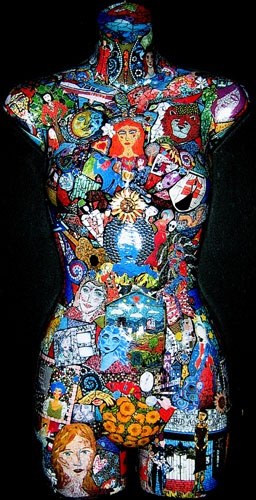 Handmade photo collage on mannequin torso. All of the photos are pictures of original Tiffany Miller mosaics.