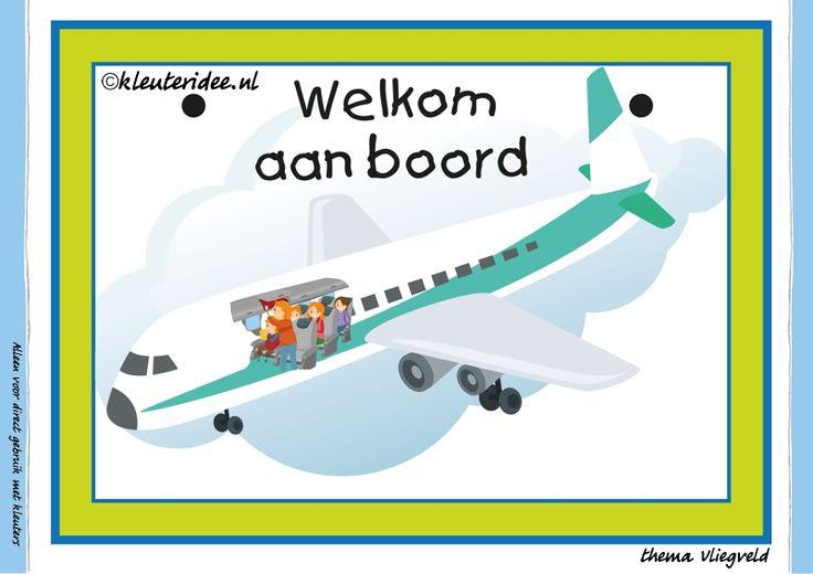 Themahoek 6 welkom aan boord bij thema vliegveld voor kleuters, juf Petra van kleuteridee, free printable.