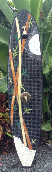 """Outdoor Shower Mosaic, """"Bamboo Moon one of my first works www.tropical-artist.com"""""""