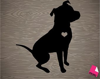 pit bull silhouette vinyl decal sticker, free shipping!