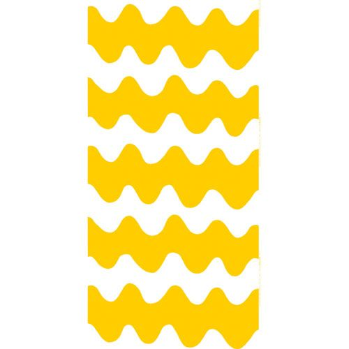 """Meaning """"seagull"""" in Finnish, this shape was inspired by the wave of the beach bird's wings in flight. Create a retro maxi dress or a funky bedspread with this fabric. Marimekko Lokki Yellow/White Fabric"""