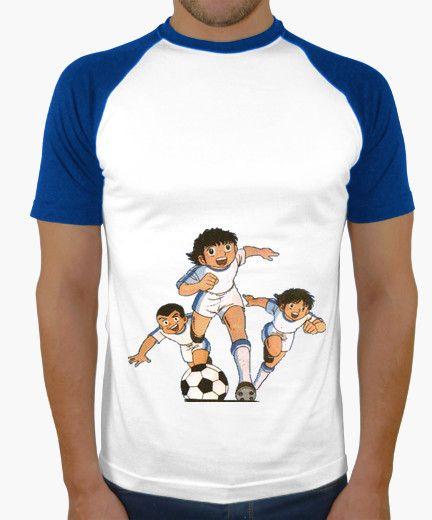 T-shirt Uomo, stile baseball, bianca e blu reale