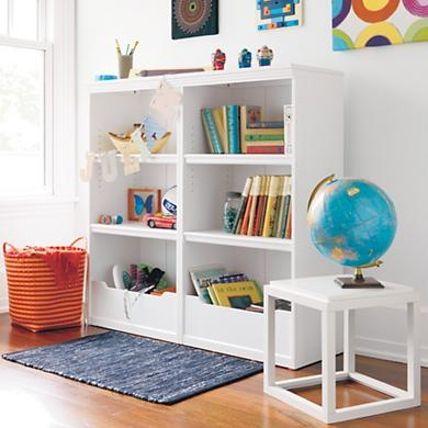 White Flat Top Bookcase from @The Land of Nod