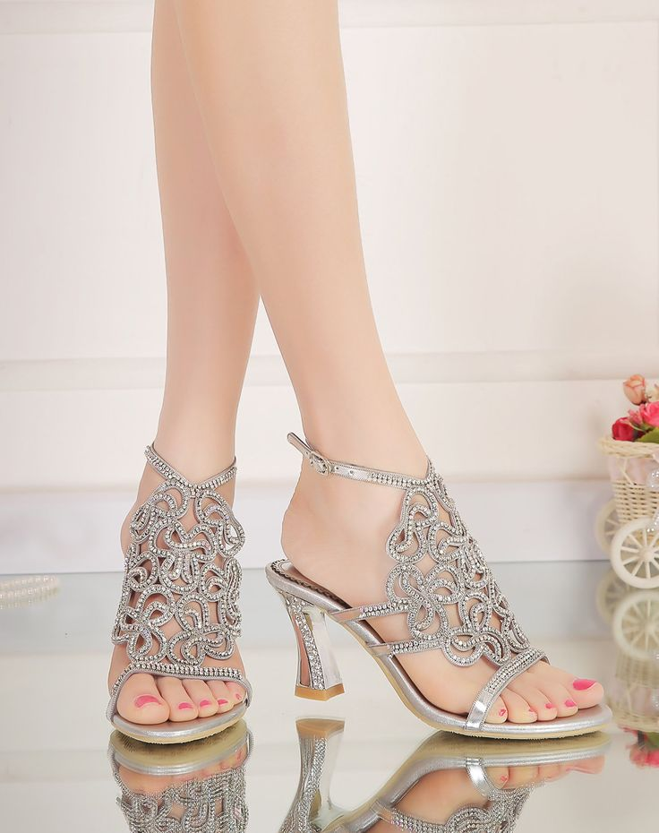 #VIPme Diamond Stiletto Heel Sandals Cut Out Slingback Silver. Get more fashion inspiration at VIPme.com.