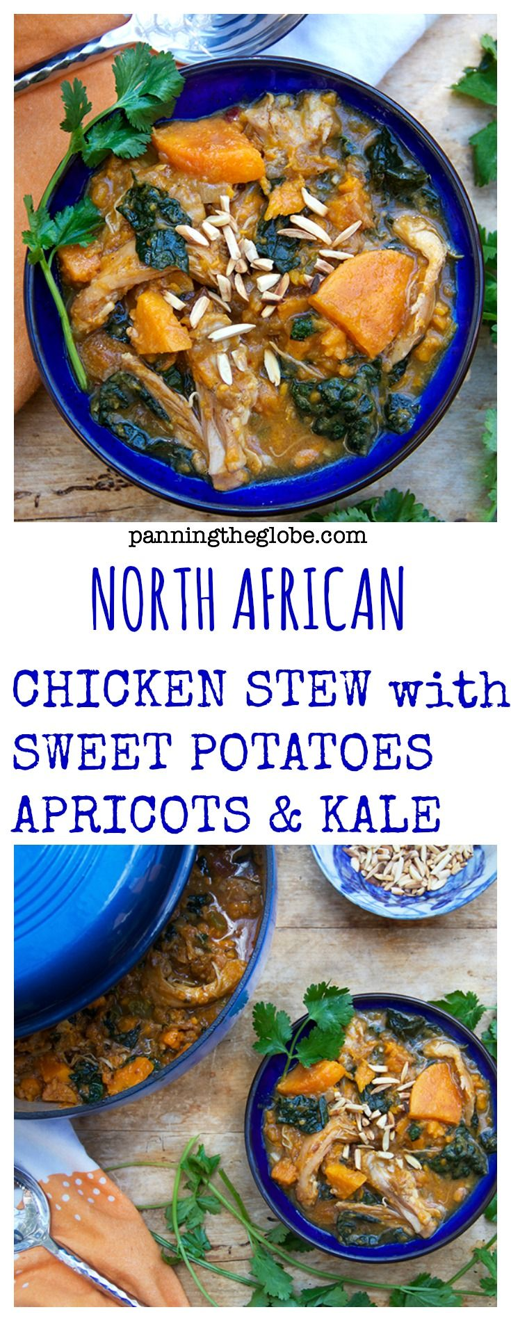 Amazing flavors of cinnamon, apricots, ginger, garlic, and lemon in this delicious stew of tender chicken thighs, sweet potatoes and kale.