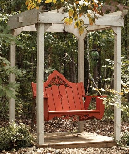 Free Shipping. Made in the USA. Price for swing and arbor as shown. Shown in Coral Red finish with Companion Series Arbor in White Wash. Get the arbor swing of your dreams today!