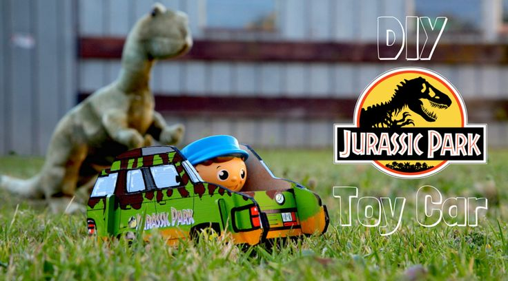 Easy DIY Dad steps to turn a CleverPatch wooden car remote control holder into an awesome retro Jurassic Park 4WD toy car!