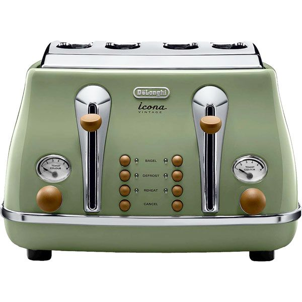 vintage toaster delonghi icona vintage toaster olive green gloss vintage toasters. Black Bedroom Furniture Sets. Home Design Ideas