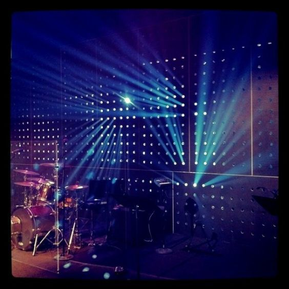 """BEAMING... Construction: reset stage pieces, 12 sheets of 3/8″ plywood, 1000+ 1.5"""" holes drilled.  Lighting: 6x Elation DS-300E's, 8x Elation OPTI-RGB's, hazer:"""