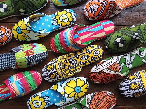 khanga slippers with african prints