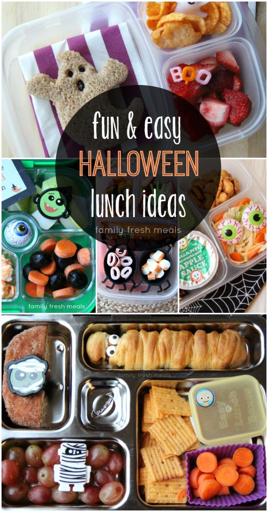 Fun Halloween School Lunch Box Ideas - FamilyFreshMeals.com - Fun and easy!