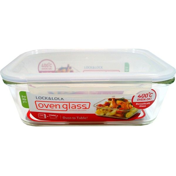 LOCK N LOCK Ovenglass rectangular dish 2L (£17) ❤ liked on Polyvore featuring home, kitchen & dining, food storage containers, lock lock lunch box, lock lock food storage containers and rectangular food storage containers