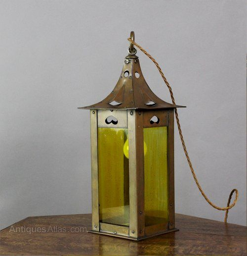 Antiques Atlas - Arts And Crafts Brass Lantern With Pierced Heart C1900
