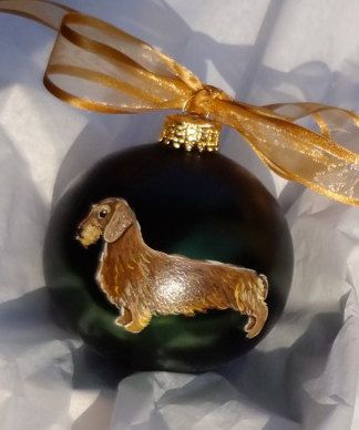 Wire Dachshund Doxie Dog Hand Painted Christmas Ornament - Can Be Personalized with Name