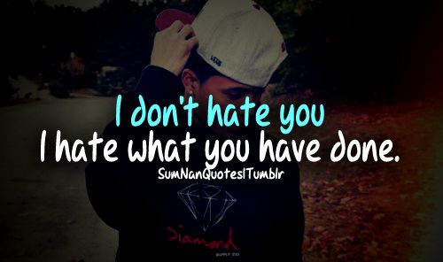 I don't hate you . I hate what you've done .