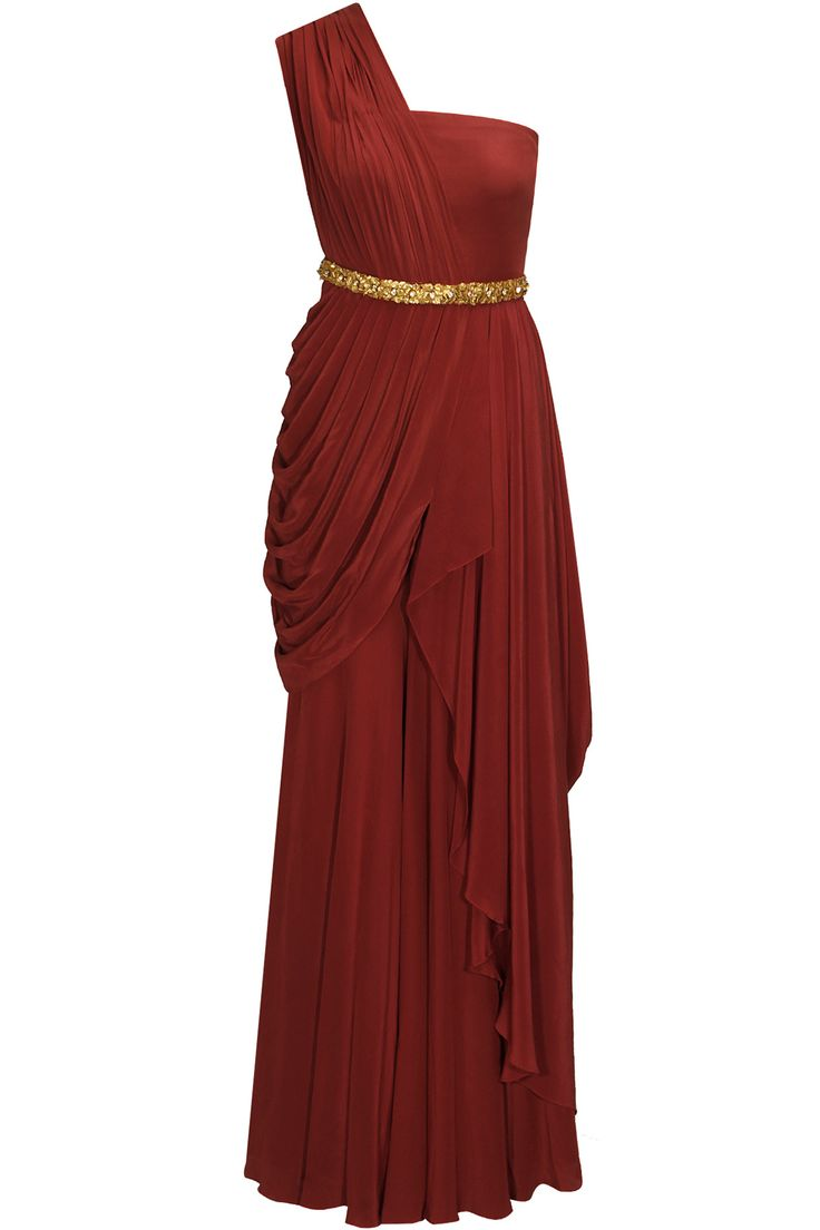 Red one shoulder drape jumpsuit with swarovski studded waistband available only at Pernia's Pop-Up Shop.