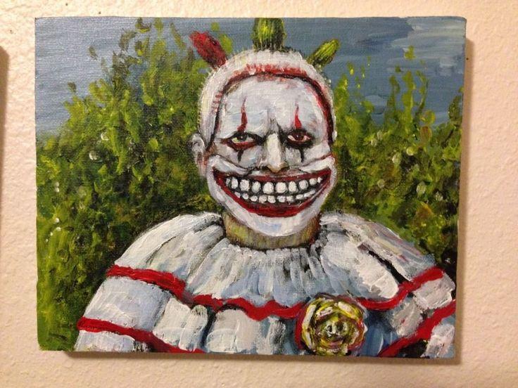 """Twisty"" clown from #AHS. horror art , Acrylic original   jack larson 8""/10"" #Abstract"