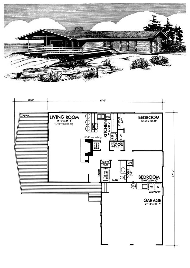 Prairie Style Ranch Retro Southwest House Plan 98379