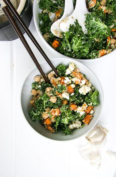 Kale Salad Bowl with Tahini, Roasted Sweet Potoates, Quinoa, Feta, & Chickpeas