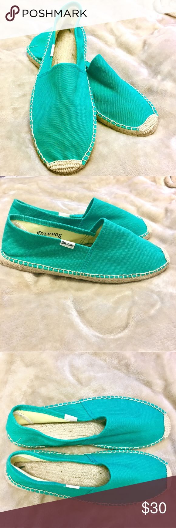Soldudos Green Espadrilles Flat Bright green espadrilles shoes. Brand is Soludos. Perfect condition. Size 8. Soludos Shoes Espadrilles