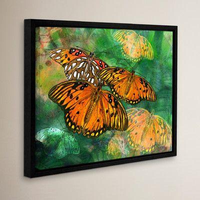 "World Menagerie Orange Butterfly Fantasy I Framed Graphic Art Size: 36"" H x 48"" W"