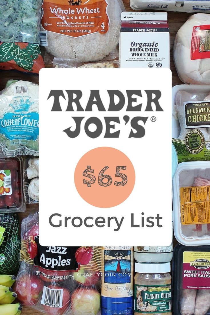 Here is a Trader Joe's grocery list for two people that costs $65.