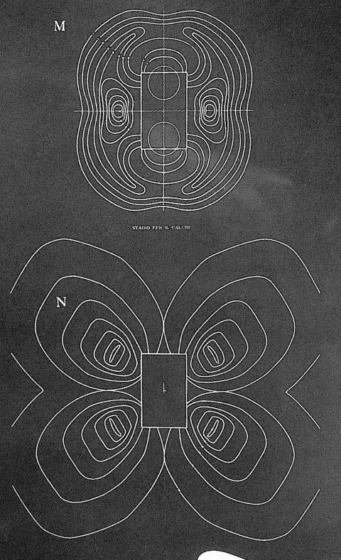 """stadium N by Luigi Moretti. plans for stadium version M and N showing the """"equi-desirability"""" curves (Bucci and Mulazzani 2000, 114)"""