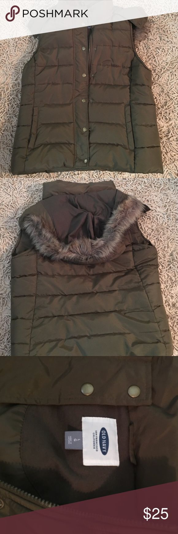 WOMENS Lrg. Old Navy vest with removable hoodie. Hunters Green faux fur removable hoodie. Very warm and comfy. Old Navy Jackets & Coats Jean Jackets