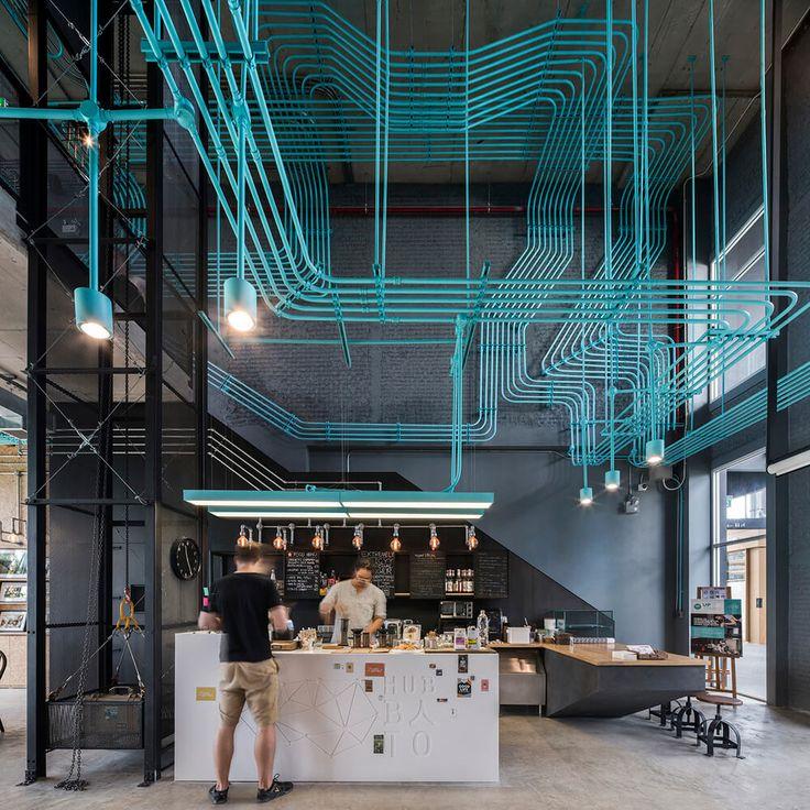 office inspired by tron in bankok - Cyan Cafe Interior