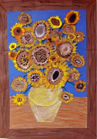 Collaborative class piece for homeroom. each kid does a hand print van gogh flower and cuts it out
