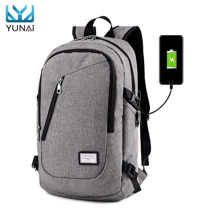 External USB Charge Interface Casual Shoulder Canvas Bag Laptop Notebook Backpack Waterproof Laptop Case Cover Bag For Women Men