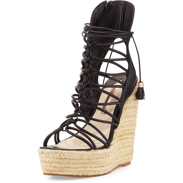Sophia Webster Lacey Lace-Up Gladiator Wedge Sandal ($575) ❤ liked on Polyvore featuring shoes, sandals, black, lace up sandals, greek sandals, black lace up sandals, gladiator sandals shoes and wedge sandals
