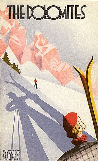 Travel brochure by Italian State Tourist Dept) & the Italian State Railway 1933, The Dolomites.