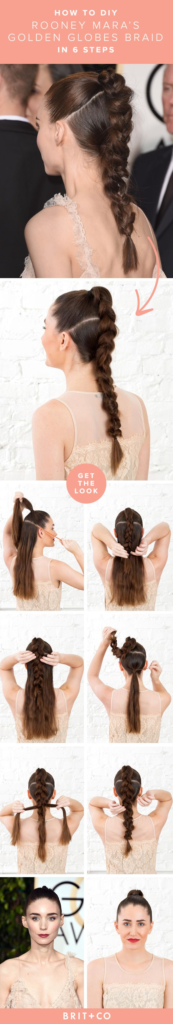 Follow this easy hair tutorial to recreate Rooney Mara's Golden Globes braid for yourself in 6 steps + 5 minutes flat.