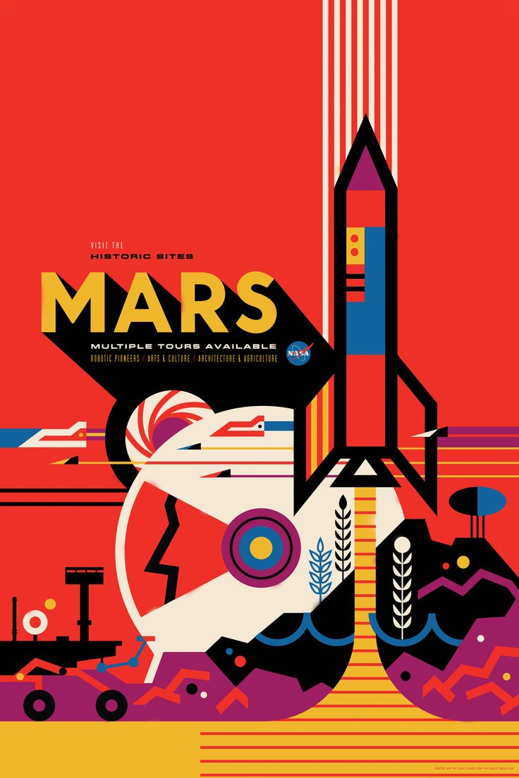 NASA space-themed travel posters.