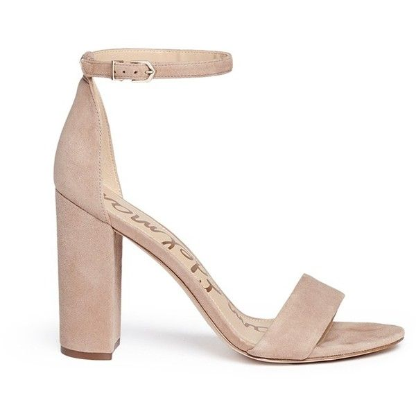 Sam Edelman 'Yaro' ankle strap suede sandals ($294) ❤ liked on Polyvore featuring shoes, sandals, neutral, high heeled footwear, chunky high heel sandals, party sandals, ankle tie sandals and ankle strap high heel sandals