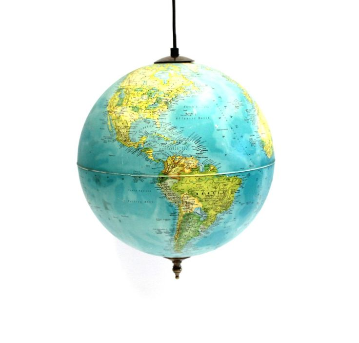 The brother of our other globe lamp, we rescued him from his badly beaten up stand and gave him the ability to fly! Well… to hang. Now a gorgeous ceiling light – it will light up any room.