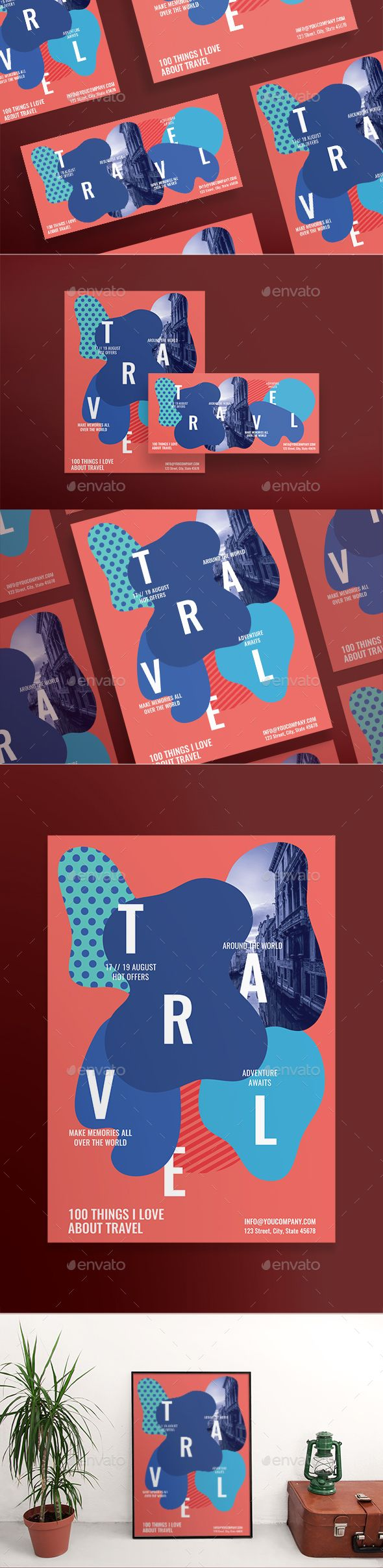 Travel Flyers — Photoshop PSD #a5 #vacations • Available here ➝ https://graphicriver.net/item/travel-flyers/20724398?ref=pxcr