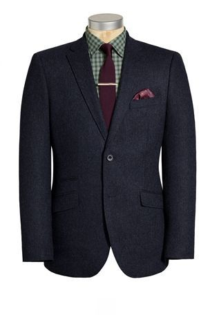Navy Herringbone Jacket, Green Checked Shirt, Knitted Tie and Tie Clip at next.co.uk