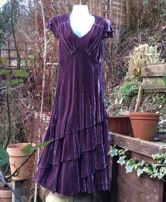 Exquisite silk and viscose/rayon crushed velvet evening/ prom/ special occasion dress by Laura Ashley. Bias cut to skim the figure and for the