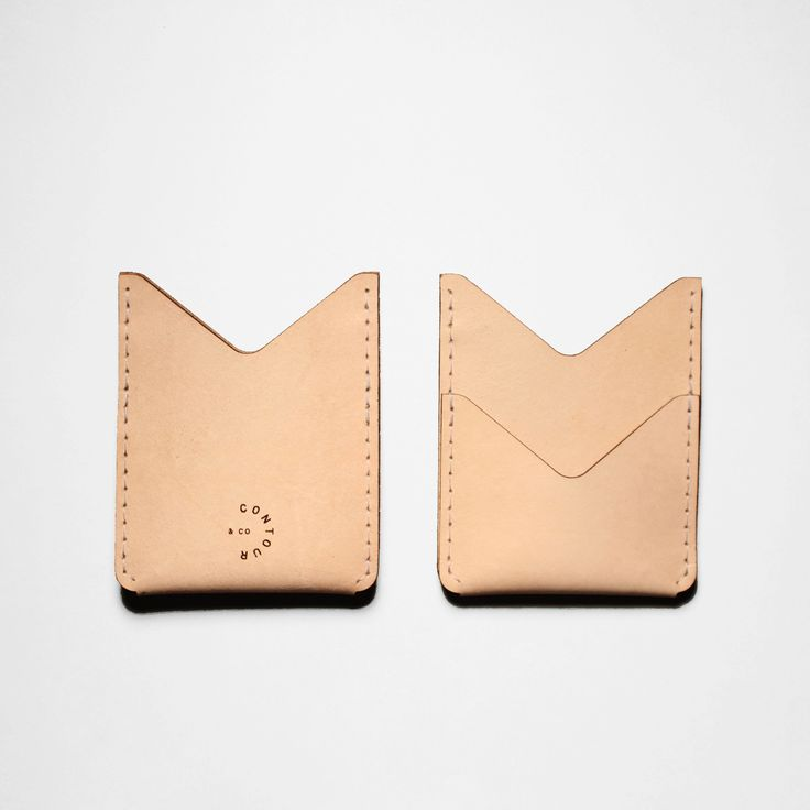 "Designed for your essentials this slim double pocket wallet features a front pocket to secure and show your metro pass. Handcrafted in Toronto, Canada. Vegetable Tanned Leather Size: 3.75"" x 3"" www.contour-co.com"