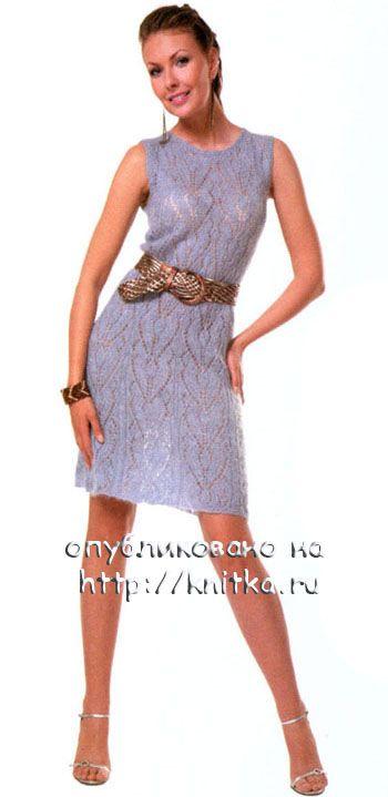 Ажурное платье, связанное спицами