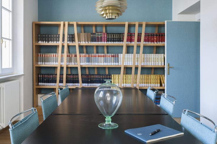 office, commercial, law firm, millerighe, wooden floor, wooden boiserie, library, blue walls