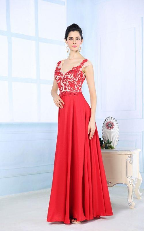 エレガントなVネックのレッド系ロングドレス - ロングドレス・パーティードレスはGN|演奏会や結婚式に大活躍!